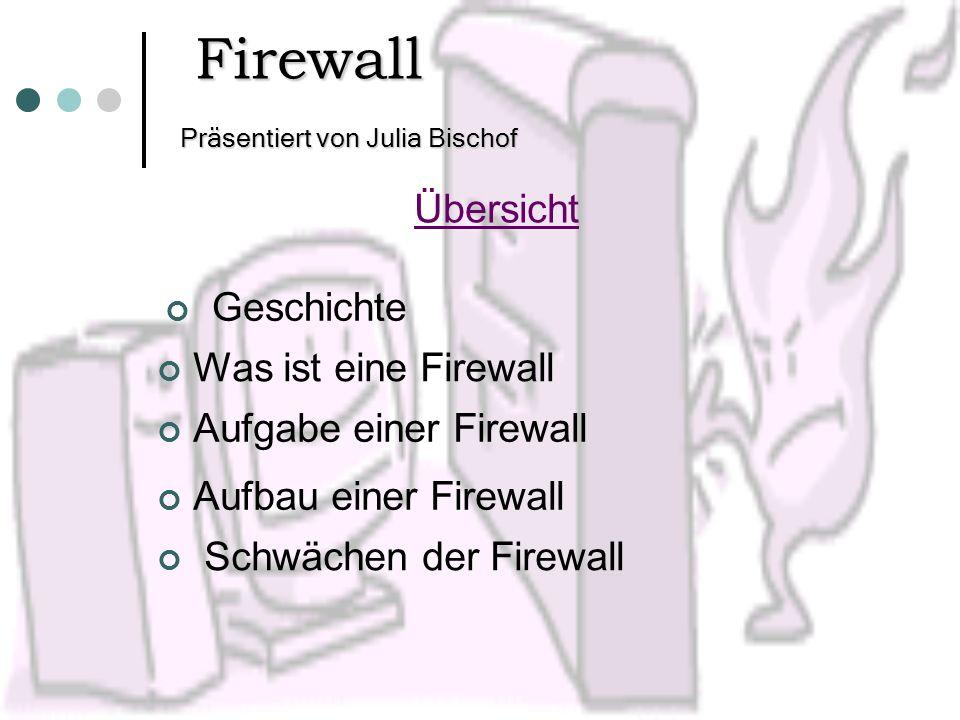Präsentiert von Julia Bischof Firewall Übersicht Geschichte Was ist eine Firewall Aufgabe einer Firewall Aufbau einer Firewall Schwächen der Firewall