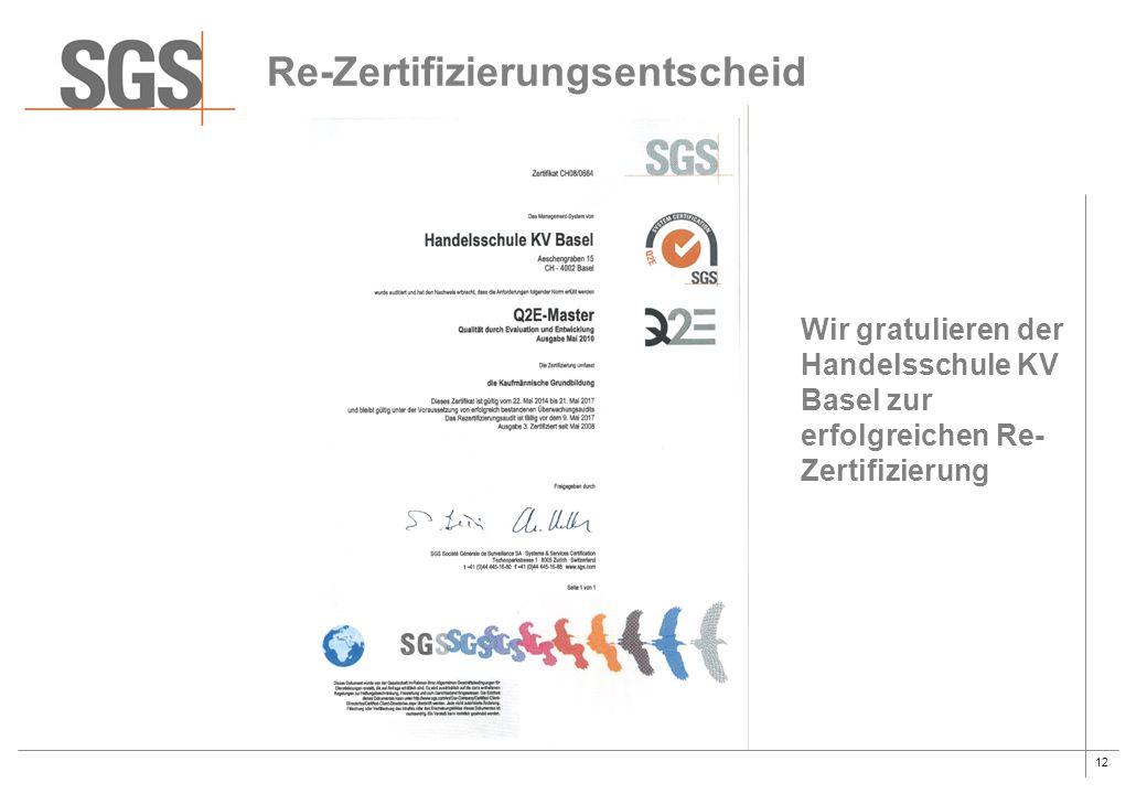 12 Re-Zertifizierungsentscheid Wir gratulieren der Handelsschule KV Basel zur erfolgreichen Re- Zertifizierung