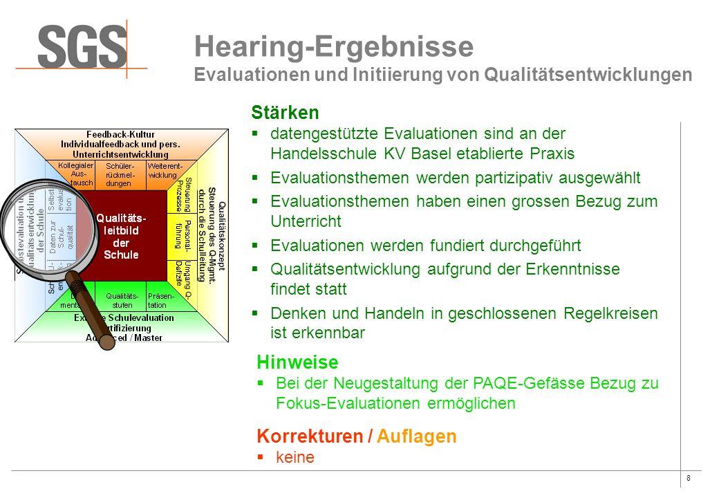 8 Hearing-Ergebnisse Evaluationen und Initiierung von Qualitätsentwicklungen Stärken  datengestützte Evaluationen sind an der Handelsschule KV Basel