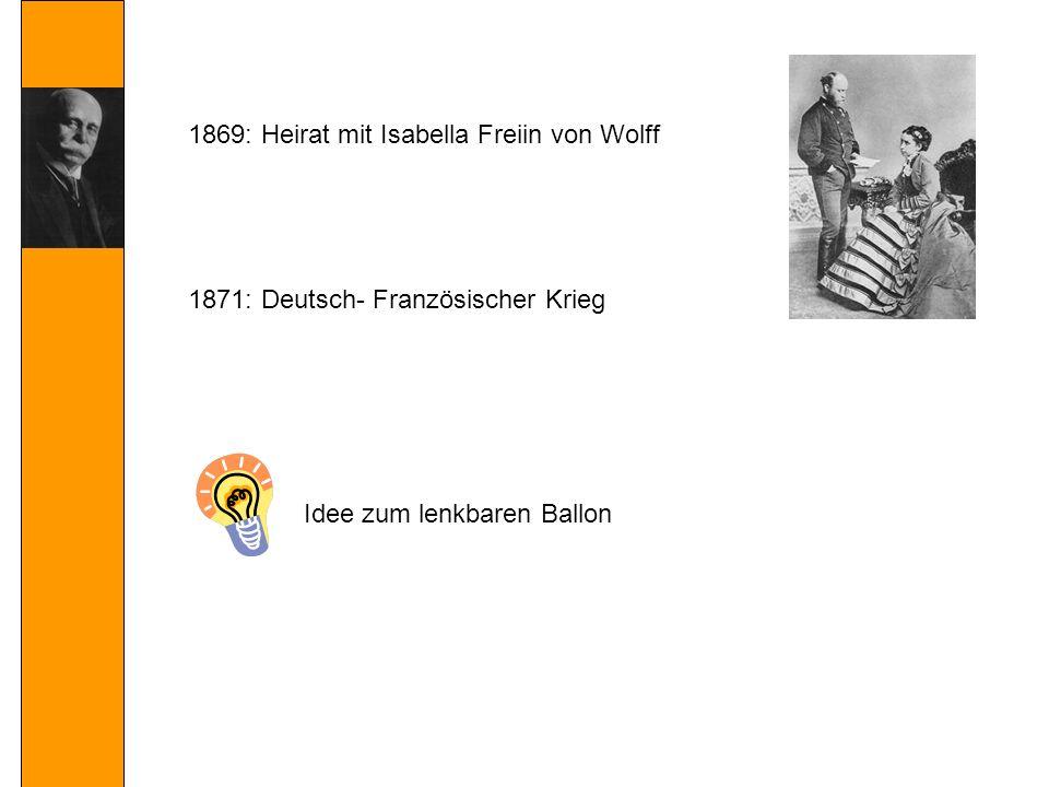 1871: Deutsch- Französischer Krieg 1869: Heirat mit Isabella Freiin von Wolff Idee zum lenkbaren Ballon