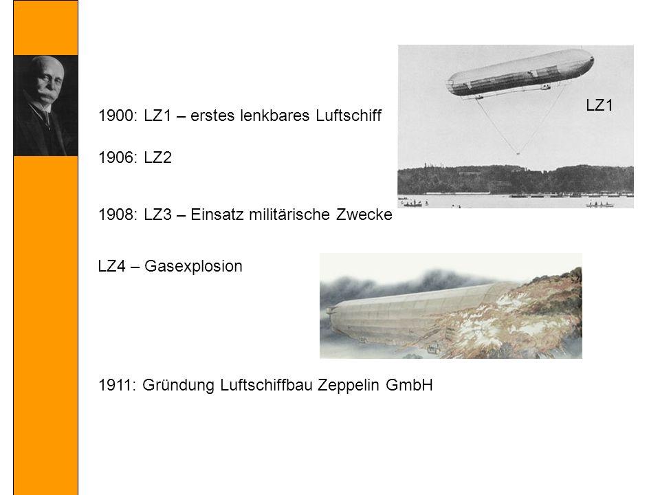 1906: LZ2 1908: LZ3 – Einsatz militärische Zwecke 1911: Gründung Luftschiffbau Zeppelin GmbH LZ4 – Gasexplosion 1900: LZ1 – erstes lenkbares Luftschiff LZ1