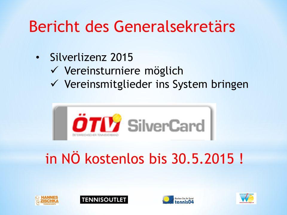 Bericht des Generalsekretärs Silverlizenz 2015 Vereinsturniere möglich Vereinsmitglieder ins System bringen in NÖ kostenlos bis 30.5.2015 !