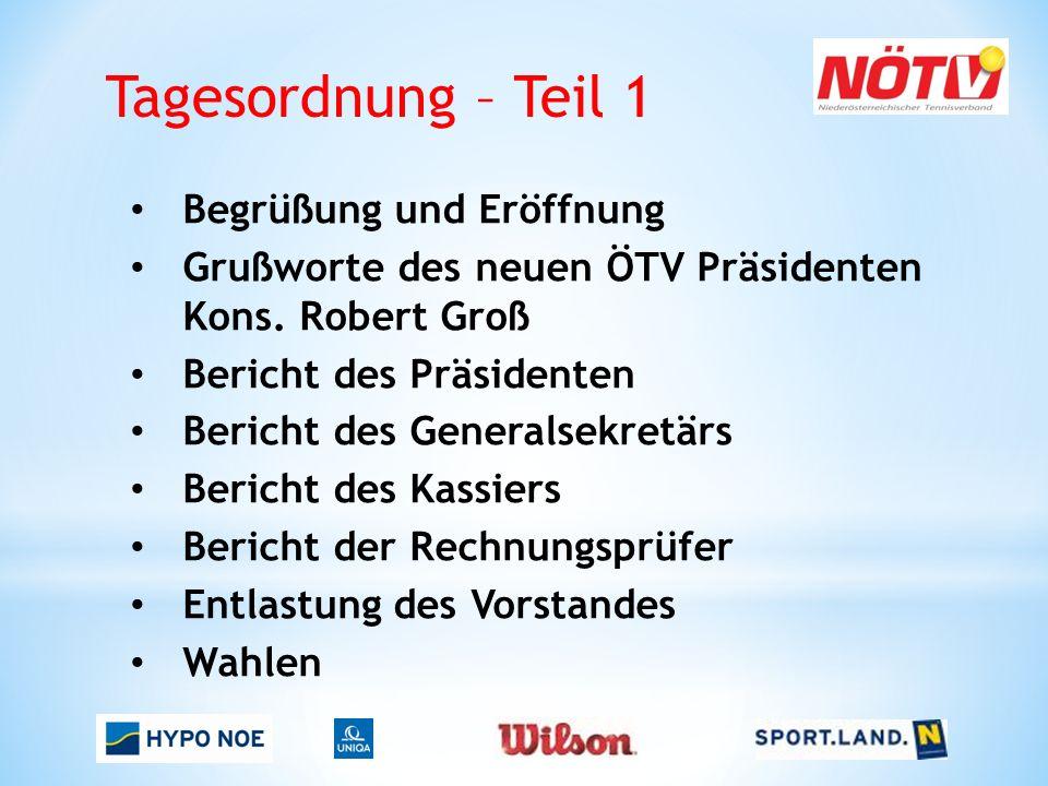 Tagesordnung – Teil 1 Begrüßung und Eröffnung Grußworte des neuen ÖTV Präsidenten Kons.
