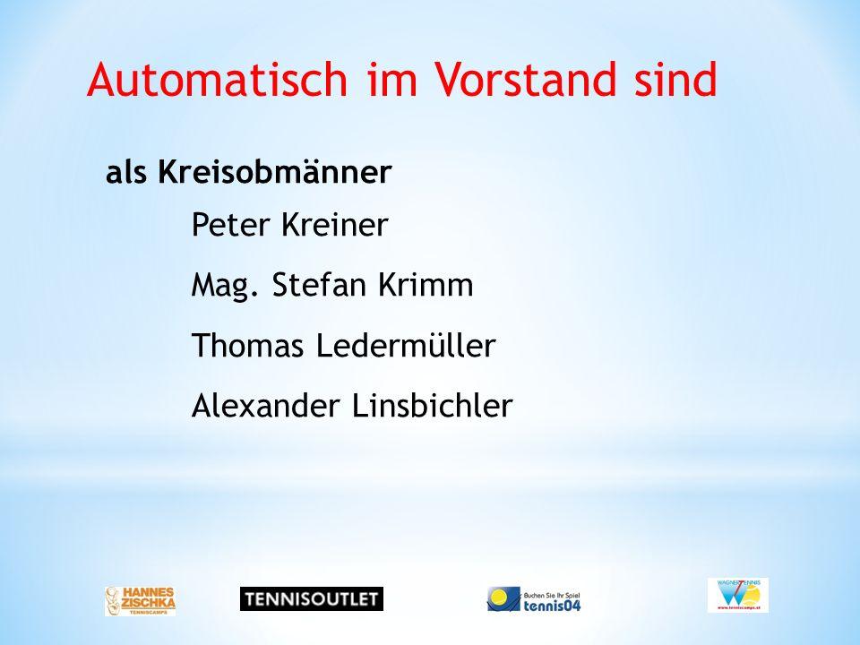 Automatisch im Vorstand sind als Kreisobmänner Peter Kreiner Mag. Stefan Krimm Thomas Ledermüller Alexander Linsbichler