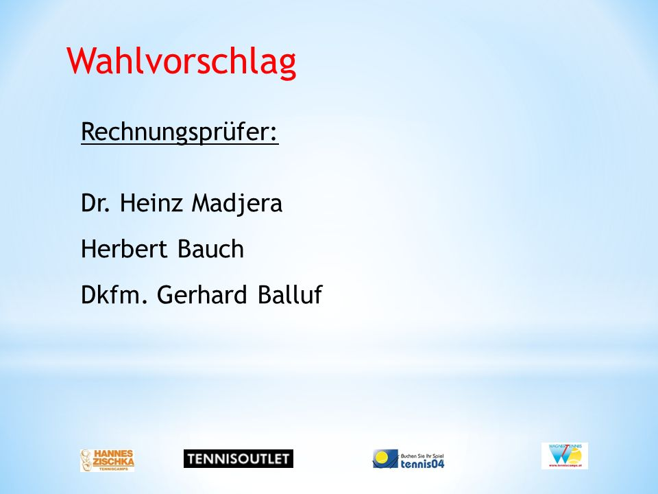 Wahlvorschlag Rechnungsprüfer: Dr. Heinz Madjera Herbert Bauch Dkfm. Gerhard Balluf