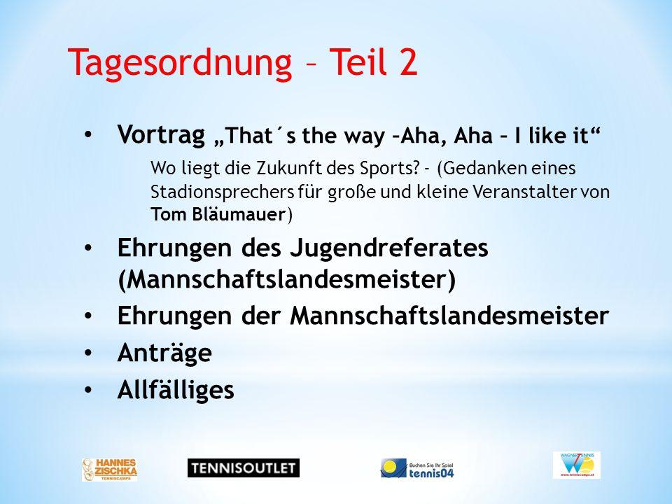 "Tagesordnung – Teil 2 Vortrag ""That´s the way –Aha, Aha – I like it Wo liegt die Zukunft des Sports."