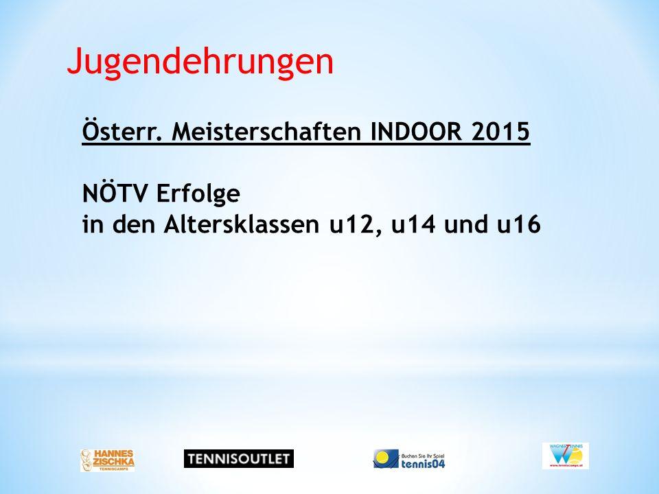 Jugendehrungen Österr. Meisterschaften INDOOR 2015 NÖTV Erfolge in den Altersklassen u12, u14 und u16