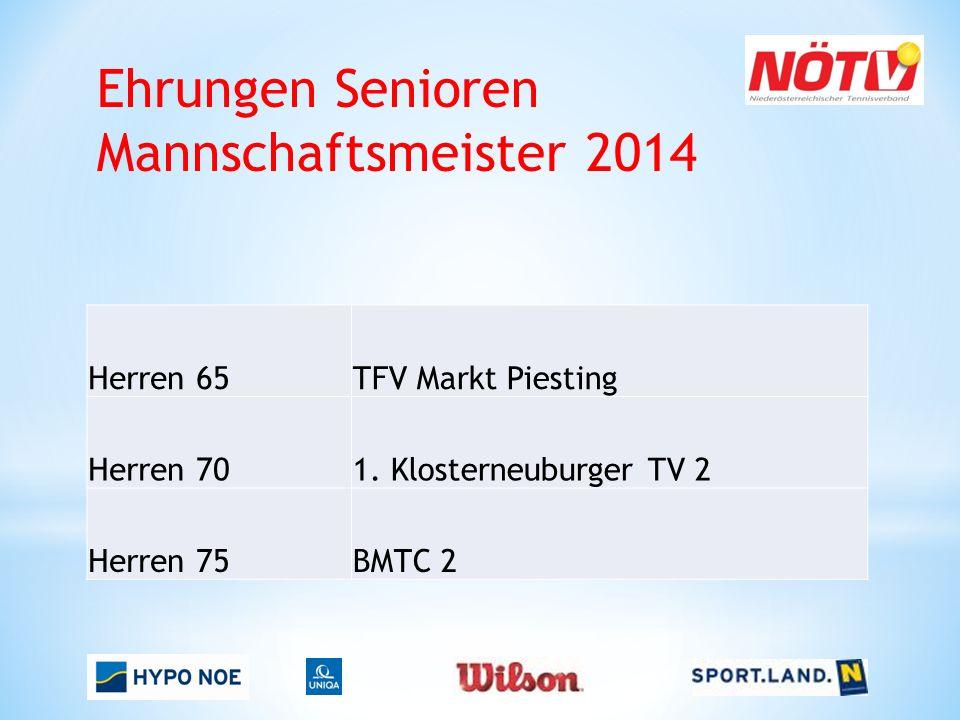 Ehrungen Senioren Mannschaftsmeister 2014 Herren 65TFV Markt Piesting Herren 701. Klosterneuburger TV 2 Herren 75BMTC 2