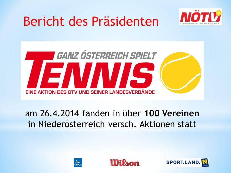 Bericht des Präsidenten am 26.4.2014 fanden in über 100 Vereinen in Niederösterreich versch. Aktionen statt