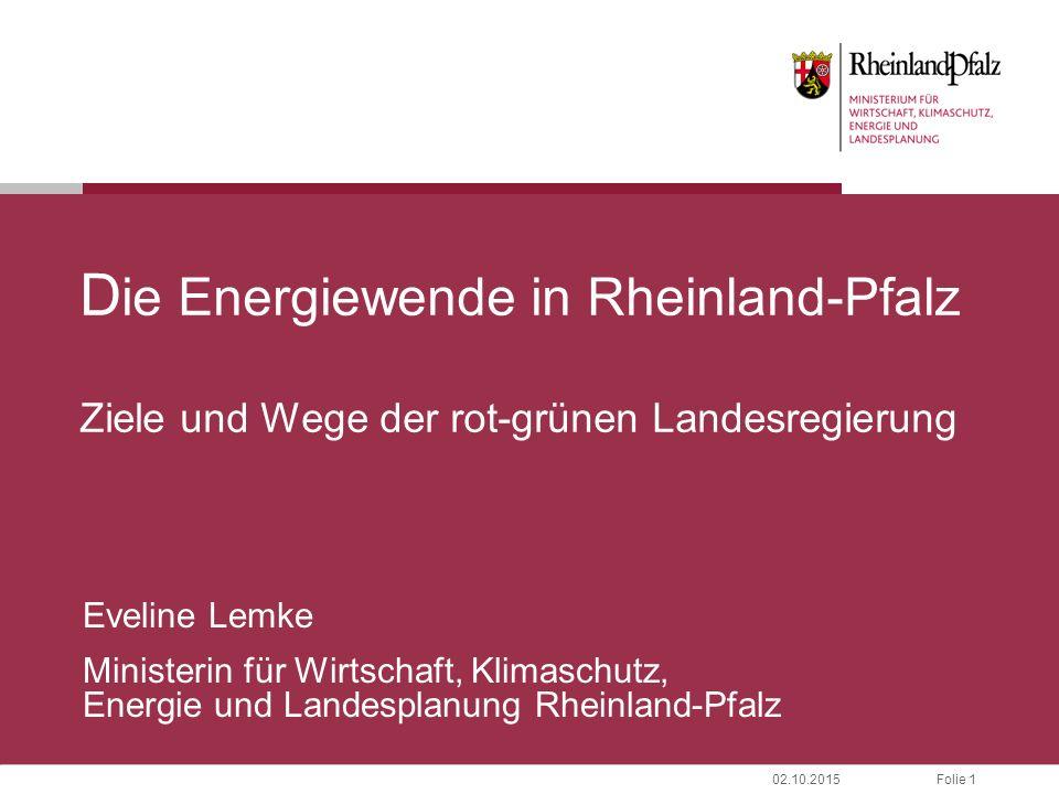 Folie 1202.10.2015 Energieberatung – Energieagentur Rheinland-Pfalz I Koalitionsvereinbarung: Wir wollen eine starke Energieagentur in Rheinland-Pfalz.
