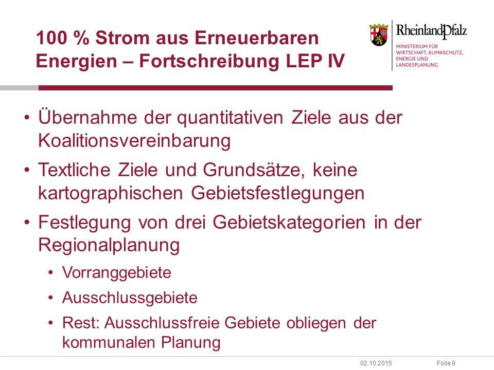 Folie 1002.10.2015 100 % Strom aus Erneuerbaren Energien – Fortschreibung LEP IV Zielhierarchie: 1.