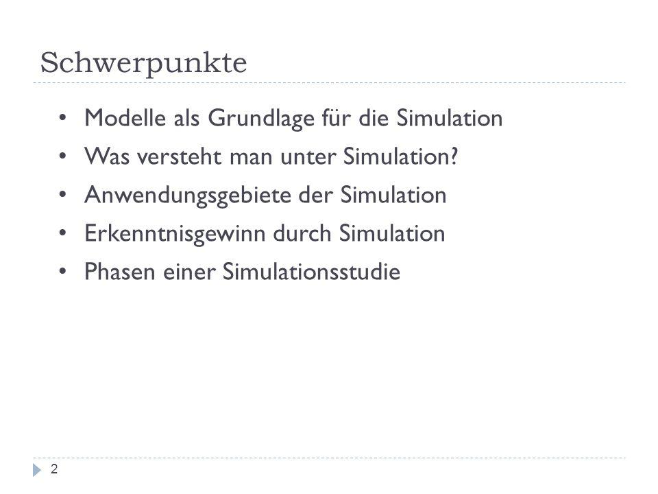 Schwerpunkte 2 Modelle als Grundlage für die Simulation Was versteht man unter Simulation? Anwendungsgebiete der Simulation Erkenntnisgewinn durch Sim