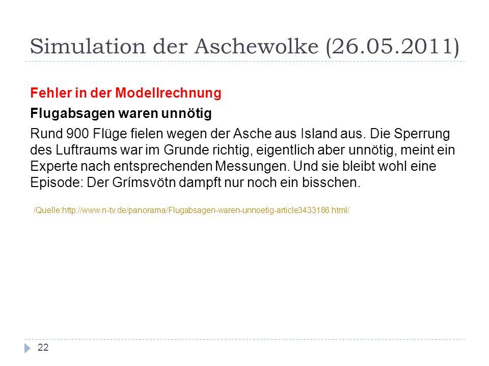 Simulation der Aschewolke (26.05.2011) 22 Fehler in der Modellrechnung Flugabsagen waren unnötig Rund 900 Flüge fielen wegen der Asche aus Island aus.