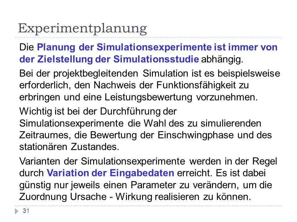 31 Experimentplanung Die Planung der Simulationsexperimente ist immer von der Zielstellung der Simulationsstudie abhängig. Bei der projektbegleitenden