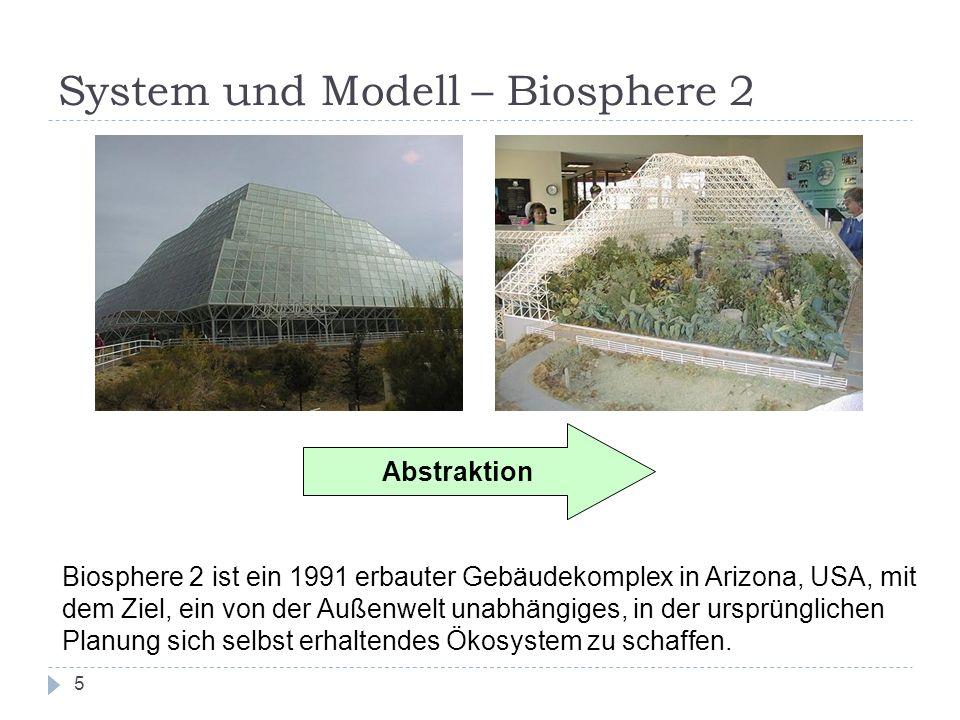 System und Modell – Biosphere 2 5 Abstraktion Biosphere 2 ist ein 1991 erbauter Gebäudekomplex in Arizona, USA, mit dem Ziel, ein von der Außenwelt un