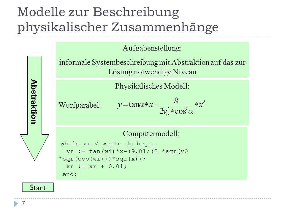 7 Modelle zur Beschreibung physikalischer Zusammenhänge Aufgabenstellung: informale Systembeschreibung mit Abstraktion auf das zur Lösung notwendige N