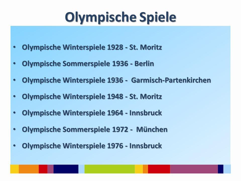 Olympische Spiele Olympische Winterspiele 1928 - St. Moritz Olympische Winterspiele 1928 - St. Moritz Olympische Sommerspiele 1936 - Berlin Olympische