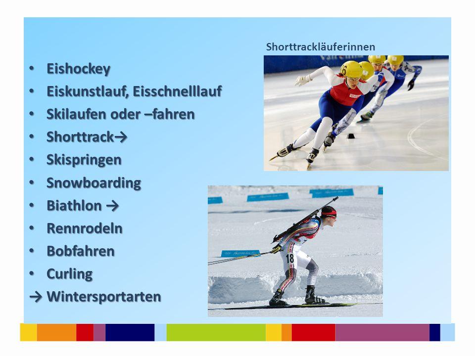 Shorttrackläuferinnen Eishockey Eishockey Eiskunstlauf, Eisschnelllauf Eiskunstlauf, Eisschnelllauf Skilaufen oder –fahren Skilaufen oder –fahren Shor