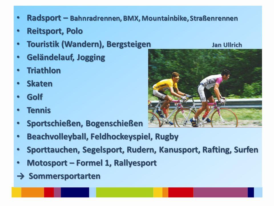 Radsport – Bahnradrennen, BMX, Mountainbike, Straßenrennen Radsport – Bahnradrennen, BMX, Mountainbike, Straßenrennen Reitsport, Polo Reitsport, Polo