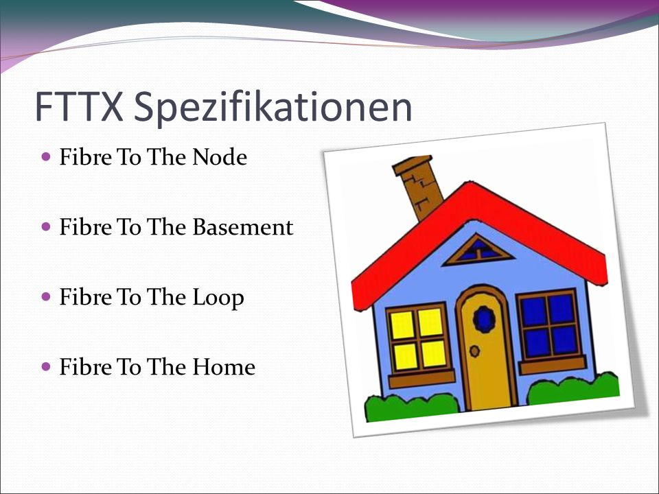 FTTX Spezifikationen Fibre To The Node Fibre To The Basement Fibre To The Loop Fibre To The Home