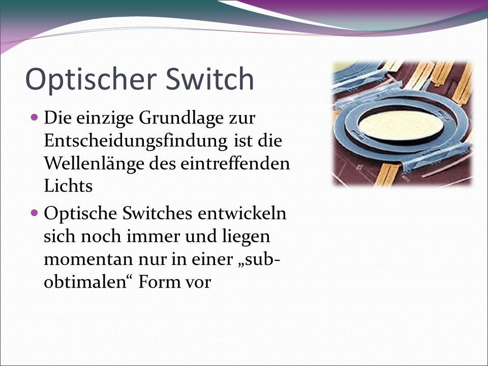 """Optischer Switch Die einzige Grundlage zur Entscheidungsfindung ist die Wellenlänge des eintreffenden Lichts Optische Switches entwickeln sich noch immer und liegen momentan nur in einer """"sub- obtimalen Form vor"""