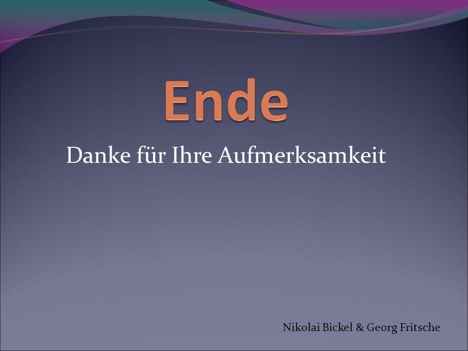 Danke für Ihre Aufmerksamkeit Nikolai Bickel & Georg Fritsche