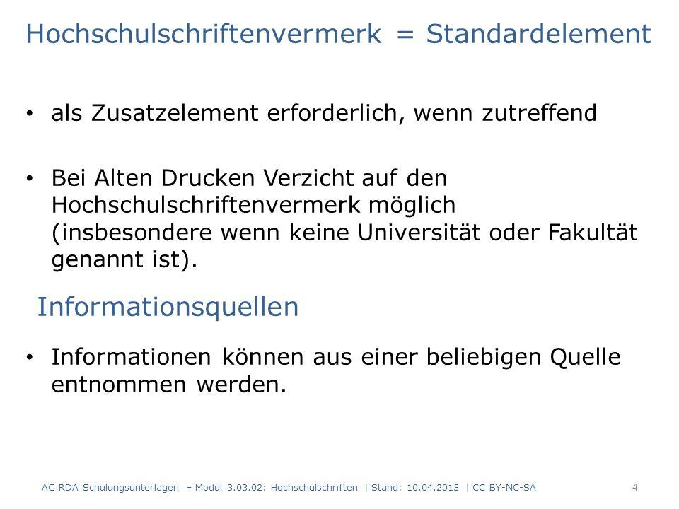 Beispiel: Dissertation, Buchhandelsausgabe 15 AG RDA Schulungsunterlagen – Modul 3.03.02: Hochschulschriften | Stand: 10.04.2015 | CC BY-NC-SA