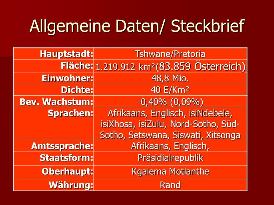 Allgemeine Daten/ Steckbrief Hauptstadt:Tshwane/PretoriaFläche: 1.219.912 km²( 83.859 Österreich) Einwohner: 48,8 Mio. Dichte: 40 E/Km² Bev. Wachstum:
