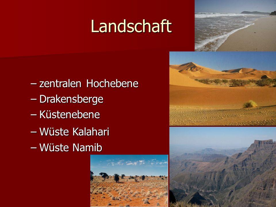 Landschaft –zentralen Hochebene –Drakensberge –Küstenebene –Wüste Kalahari –Wüste Namib