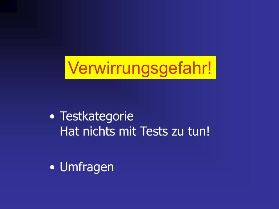 Verwirrungsgefahr! Testkategorie Hat nichts mit Tests zu tun! Umfragen