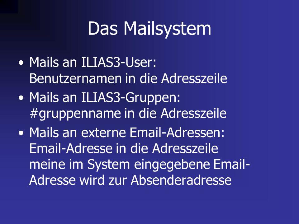 Das Mailsystem Mails an ILIAS3-User: Benutzernamen in die Adresszeile Mails an ILIAS3-Gruppen: #gruppenname in die Adresszeile Mails an externe Email-Adressen: Email-Adresse in die Adresszeile meine im System eingegebene Email- Adresse wird zur Absenderadresse