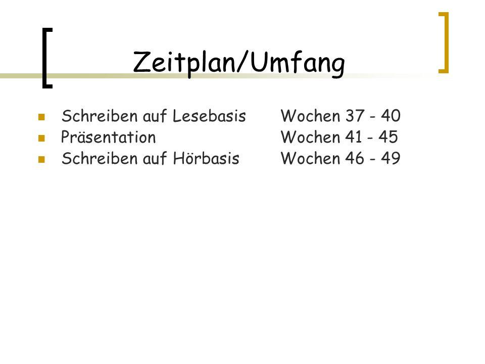 Zeitplan/Umfang Schreiben auf Lesebasis Wochen 37 - 40 Präsentation Wochen 41 - 45 Schreiben auf Hörbasis Wochen 46 - 49