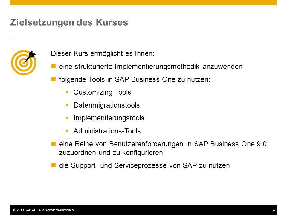 ©2013 SAP AG. Alle Rechte vorbehalten.4 Zielsetzungen des Kurses Dieser Kurs ermöglicht es Ihnen: eine strukturierte Implementierungsmethodik anzuwend