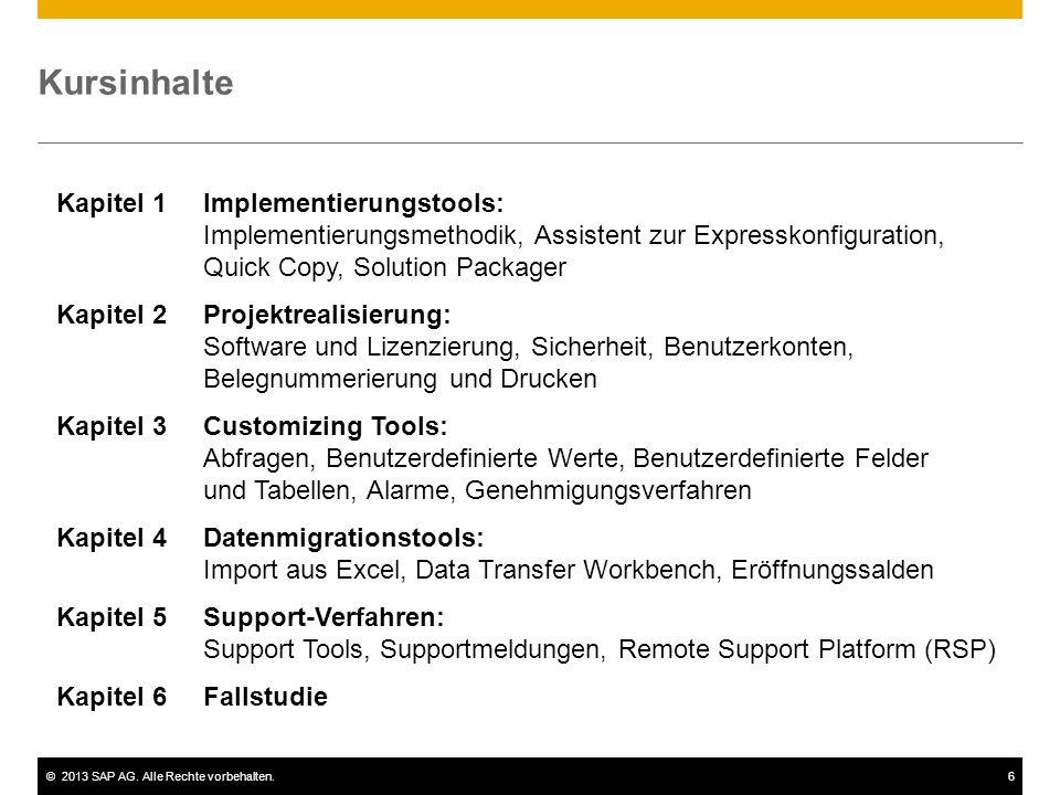 ©2013 SAP AG. Alle Rechte vorbehalten.6 Kursinhalte Kapitel 1Implementierungstools: Implementierungsmethodik, Assistent zur Expresskonfiguration, Quic