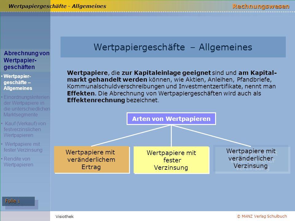 © MANZ Verlag Schulbuch Rechnungswesen Folie 1 Visiothek Wertpapiergeschäfte - Allgemeines Wertpapiergeschäfte – Allgemeines Wertpapiere, die zur Kapi
