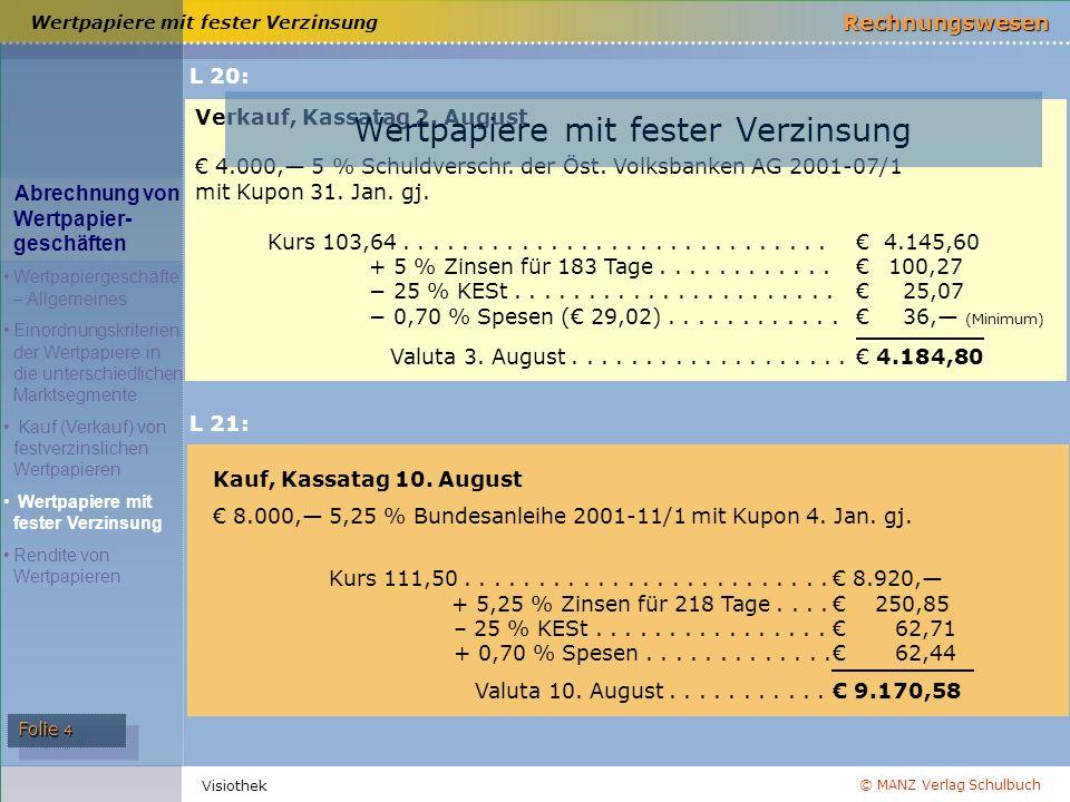 © MANZ Verlag Schulbuch Rechnungswesen Folie 4 Visiothek Verkauf, Kassatag 2. August € 4.000,— 5 % Schuldverschr. der Öst. Volksbanken AG 2001-07/1 mi