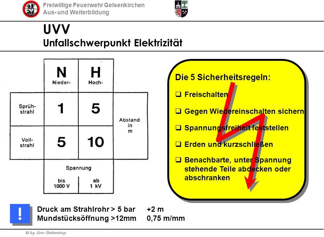Freiwillige Feuerwehr Gelsenkirchen Aus- und Weiterbildung  by Jörn Bettentrup UVV Unfallschwerpunkt Elektrizität Die 5 Sicherheitsregeln:  Freischa