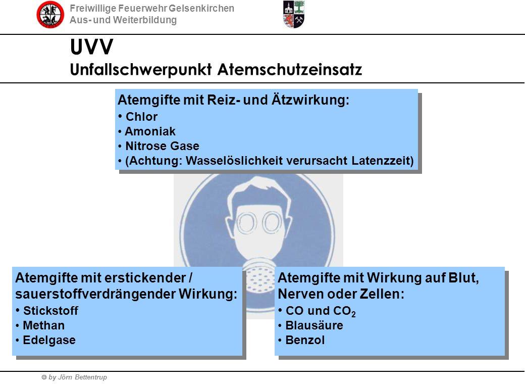 Freiwillige Feuerwehr Gelsenkirchen Aus- und Weiterbildung  by Jörn Bettentrup UVV Unfallschwerpunkt Atemschutzeinsatz Atemgifte mit Reiz- und Ätzwir