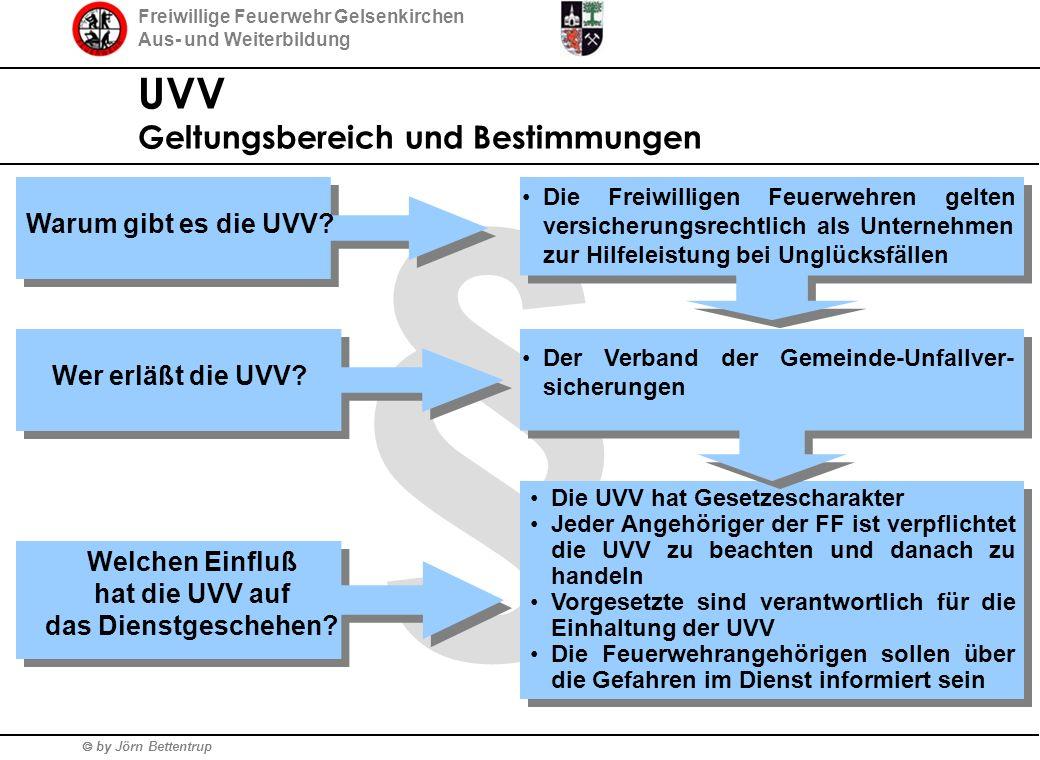 Freiwillige Feuerwehr Gelsenkirchen Aus- und Weiterbildung  by Jörn Bettentrup § Die UVV hat Gesetzescharakter Jeder Angehöriger der FF ist verpflich