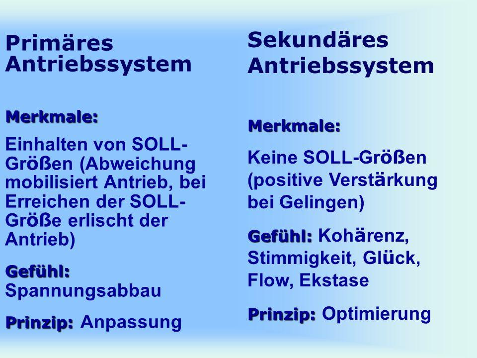 Merkmale: Gefühl: Prinzip: Primäres Antriebssystem Merkmale: Einhalten von SOLL- Gr öß en (Abweichung mobilisiert Antrieb, bei Erreichen der SOLL- Gr