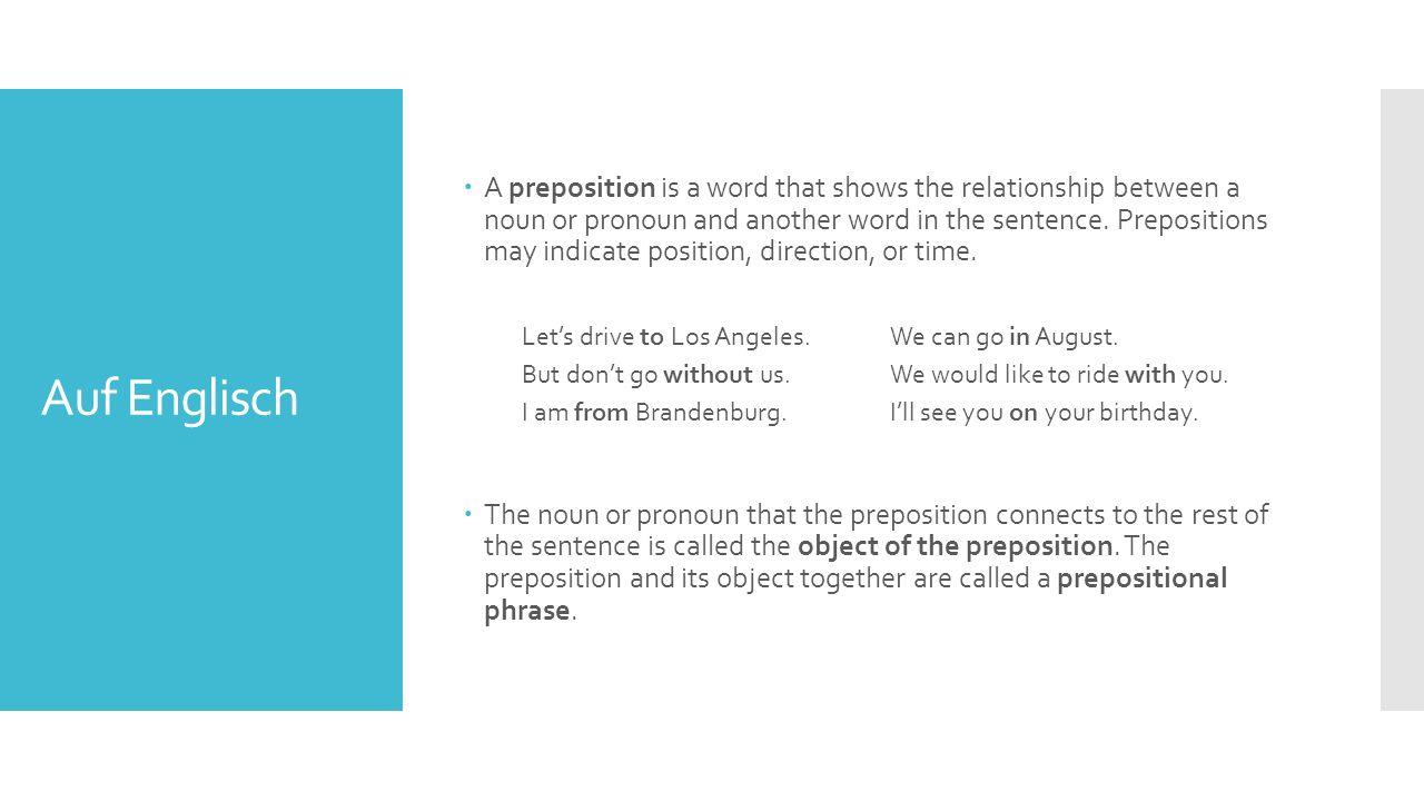 Auf Deutsch  The following prepositions; aus, bei, gegenüber, mit, nach, seit, von, zu, always take an object in the dative case.