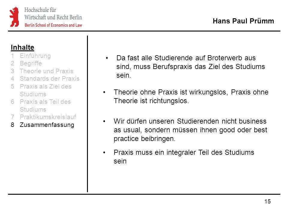 15 Hans Paul Prümm Inhalte 1 Einführung 2 Begriffe 3 Theorie und Praxis 4 Standards der Praxis 5 Praxis als Ziel des Studiums 6 Praxis als Teil des St