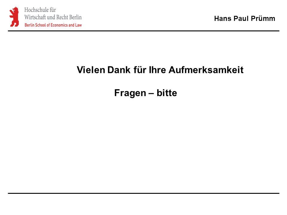 Hans Paul Prümm Vielen Dank für Ihre Aufmerksamkeit Fragen – bitte