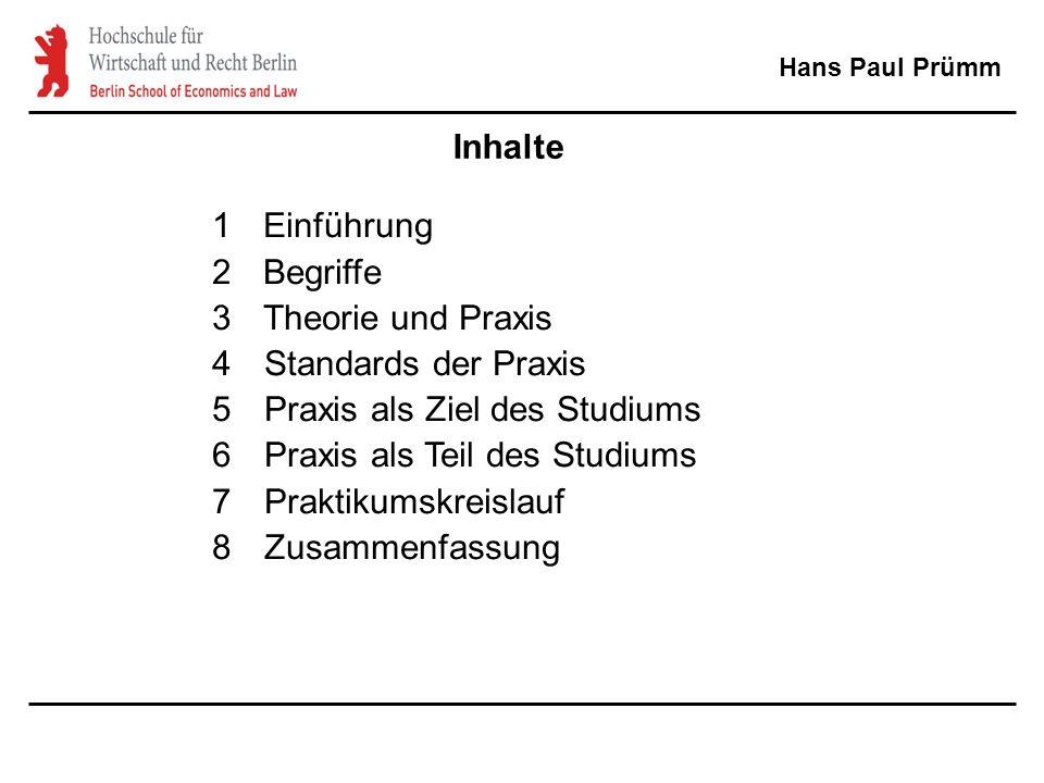 Inhalte 1Einführung 2Begriffe 3Theorie und Praxis 4Standards der Praxis 5Praxis als Ziel des Studiums 6Praxis als Teil des Studiums 7Praktikumskreislauf 8Zusammenfassung