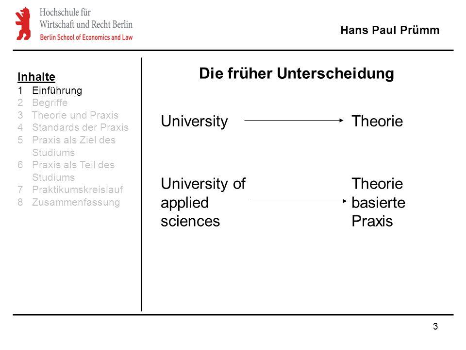 3 Hans Paul Prümm University University of applied sciences Theorie Theorie basierte Praxis Die früher Unterscheidung Inhalte 1 Einführung 2 Begriffe 3 Theorie und Praxis 4 Standards der Praxis 5 Praxis als Ziel des Studiums 6 Praxis als Teil des Studiums 7 Praktikumskreislauf 8 Zusammenfassung