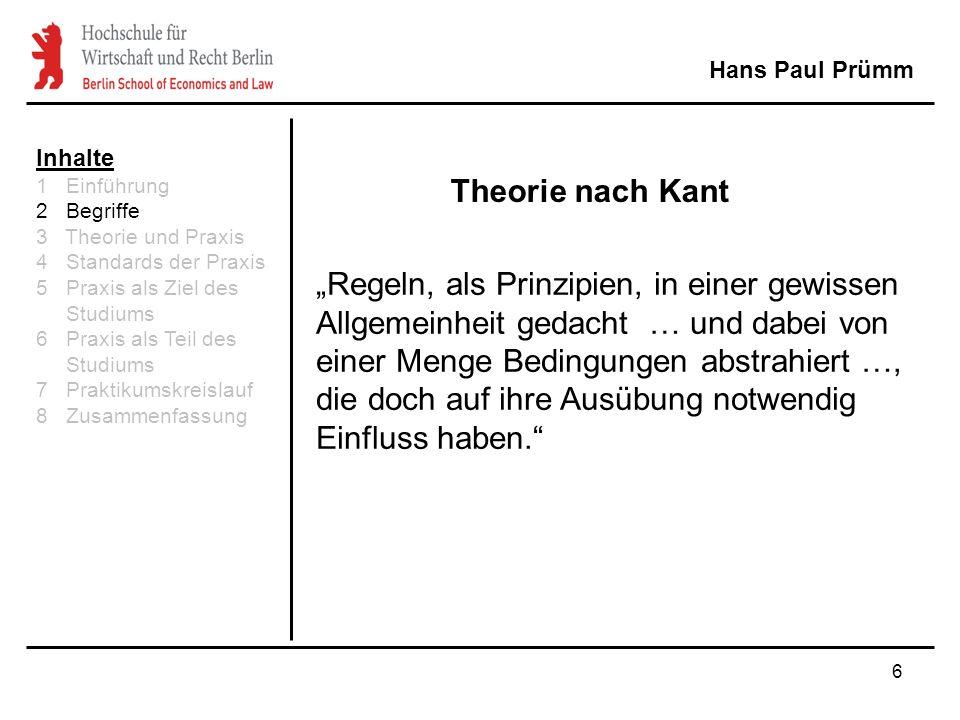 """6 Theorie nach Kant Hans Paul Prümm """"Regeln, als Prinzipien, in einer gewissen Allgemeinheit gedacht … und dabei von einer Menge Bedingungen abstrahiert …, die doch auf ihre Ausübung notwendig Einfluss haben. Inhalte 1 Einführung 2 Begriffe 3 Theorie und Praxis 4 Standards der Praxis 5 Praxis als Ziel des Studiums 6 Praxis als Teil des Studiums 7 Praktikumskreislauf 8 Zusammenfassung"""