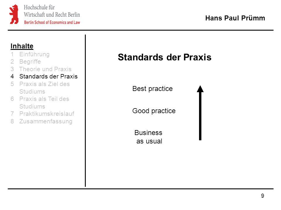9 Hans Paul Prümm Standards der Praxis Best practice Good practice Business as usual Inhalte 1 Einführung 2 Begriffe 3 Theorie und Praxis 4 Standards der Praxis 5 Praxis als Ziel des Studiums 6 Praxis als Teil des Studiums 7 Praktikumskreislauf 8 Zusammenfassung