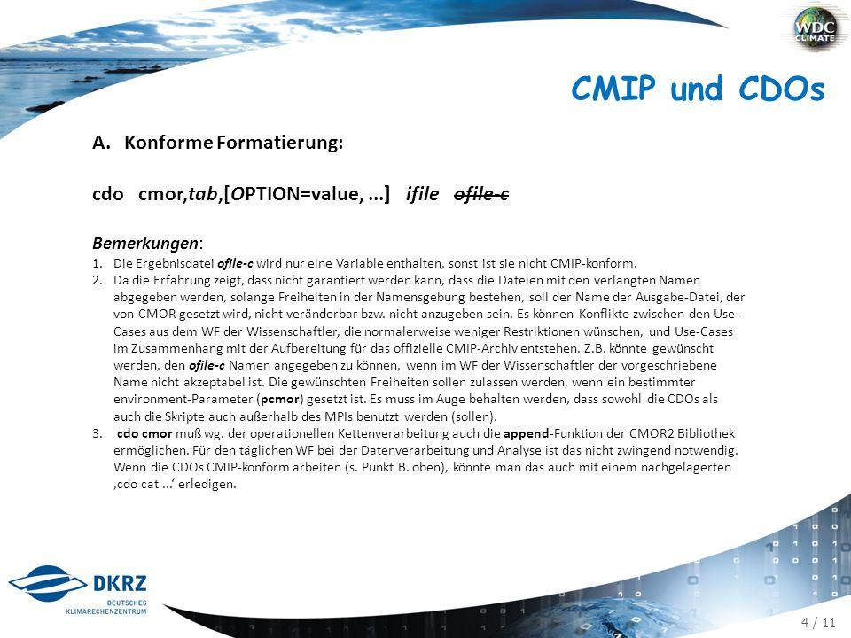 "15 / 11 A.Konforme Formatierung Verteilung der Parameter (bisher 2 NAMELISTs) auf dann 4: user info file : ufile institute_id contact command-line Eingabe [varList: variable names] tab: MIP table name realm shape [chunk] [ufile] [mfile] [efile] ifile &CMORCTRL INPUT_FILE=${input_file} CHUNK = ${chunk:- } TABLE_ID = ${table_id} REALM = ${realm} REC_NUM = ${RecDay} OUT_FLAG = ${outflag:- replace } SHAPE = ${shape} ANZVARS = 1 var =tas unit =""K efile = amip_r1i1p1.ksh ufile = MPI-M.ksh mfile = MPI-ESM-LR.ksh / &CMORCONST INPUT_DIR = ${input_dir} TABS_DIR = ${tabs_dir} GRIDS_DIR = ${grids_dir} ARCH_DIR = ${arch_dir} PROJECT_ID = ${project_id} MODEL_ID = ${model_id} INSTITUTE_ID = ${institute_id} SOURCE = ${source} CONTACT = ${contact} CALENDAR = ${calendar} PRODUCT =""${product} EXPERIMENT_ID = ${exeriment_id} REALIZATION = ${realization:-1} INITIALISATION_METHOD = ${initialisation_method:-1} PHYSICS_VERSION = ${physics_version:-1} FORCING = ${forcing:- N/A } [HISTORY = ${history:- } ] [COMMENT = ${comment:- } ] [REFERENCES = ${references:- } ] BASEYEAR = ${baseyear:- 0000 } PARENT_EXPERIMENT_ID = ${parent_experiment_id} PARENT_MEMBER_RIP = ${parent_member_rip} BRANCH_TIME = ${branch_time} ZOSCONST = ${zosga},${zossga} / experiment info file:mfile model_id [references]² calendar source product experiment info file: efile branch_time baseyear experiment_id forcing parent_experiment_id parent_experiment_rip initialisation_method physics_version realization [ comment history] input/tabs/grids/arch_dir [project_id] 3 []: optional, d.h."