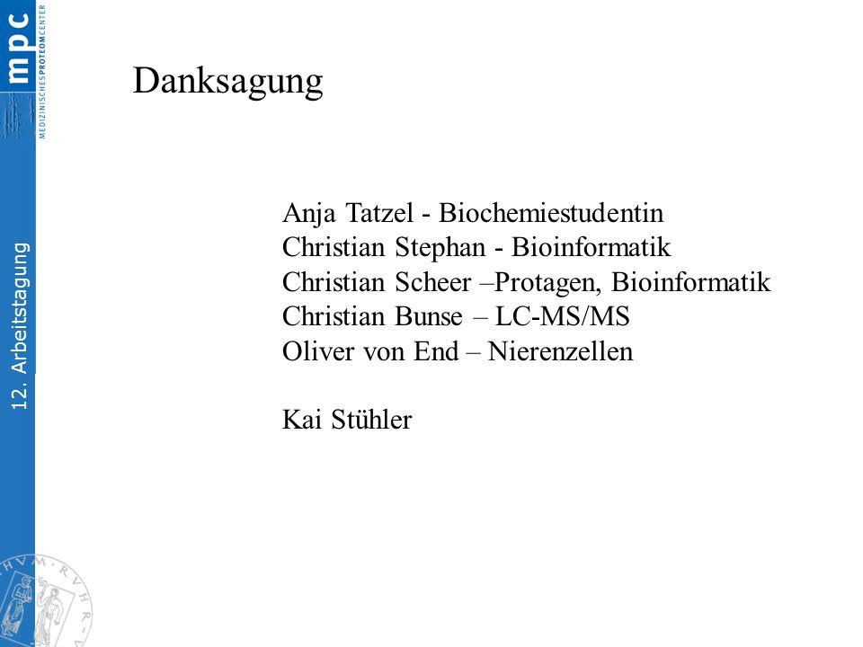 12. Arbeitstagung Anja Tatzel - Biochemiestudentin Christian Stephan - Bioinformatik Christian Scheer –Protagen, Bioinformatik Christian Bunse – LC-MS