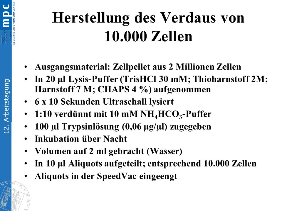 12. Arbeitstagung Herstellung des Verdaus von 10.000 Zellen Ausgangsmaterial: Zellpellet aus 2 Millionen Zellen In 20 µl Lysis-Puffer (TrisHCl 30 mM;